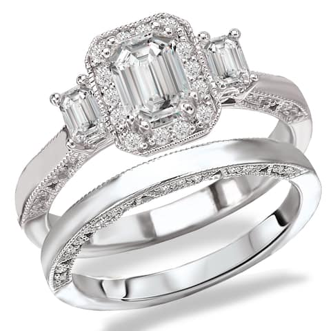 Avanti Rhodium Plated Sterling Silver Cubic Zirconia Emerald Cut Center Three Stone Look Bridal Set
