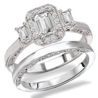 Avanti Rhodium Plated Sterling Silver Cubic Zirconia Emerald Cut Center Three Stone Look Bridal Set
