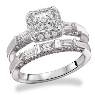 Avanti Rhodium Plated Sterling Silver Cubic Zirconia Princess Cut Center Round and Bauguette Vintage Bridal Set