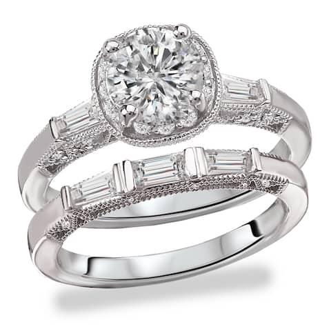 Avanti Rhodium Plated Sterling Silver Cubic Zirconia Round and Baugette Vantage Bridal Set
