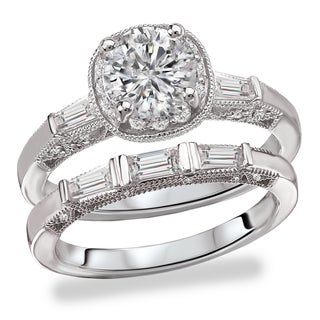 Avanti Rhodium Plated Sterling Silver Cubic Zirconia Round and Baugette Vantage Bridal Set