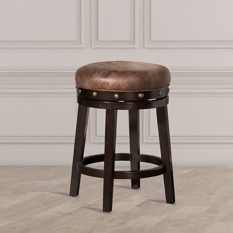 Hillsdale Furniture Benard Backless Counter Stool, Deep Smoke Brown WIth Brown Fabric