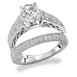 Avanti Rhodium Plated Sterling Silver Cubic Zirconia Round Center Vintage Milgrain Design Bridal Set