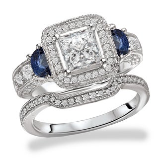 Avanti Rhodium Plated Sterling Silver Cubic Zirconia Princess Cut Halo with Blue Side Stone Accent Vintage Bridal Set