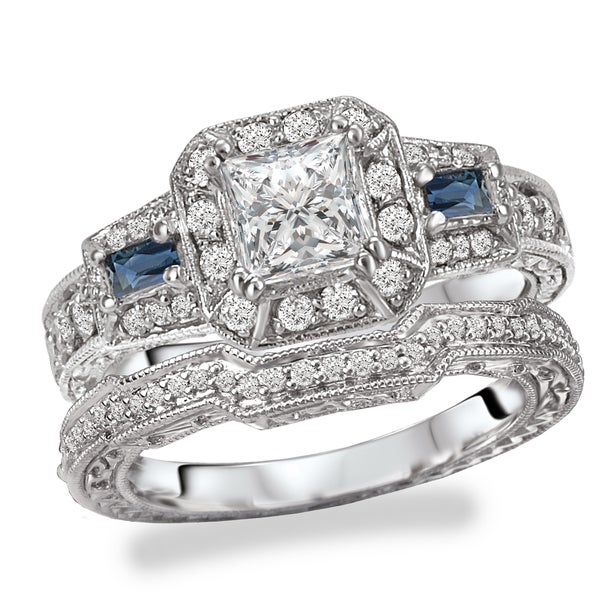 Avanti Rhodium Plated Sterling Silver Cubic Zirconia Princess Cut Halo With Blue Accent Vintage Bridal Set