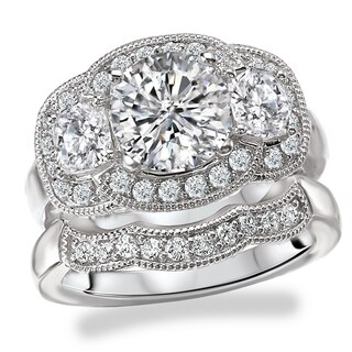 Avanti Rhodium Plated Sterling Silver Cubic Zirconia Round Three Stone Halo Vintage Bridal Set