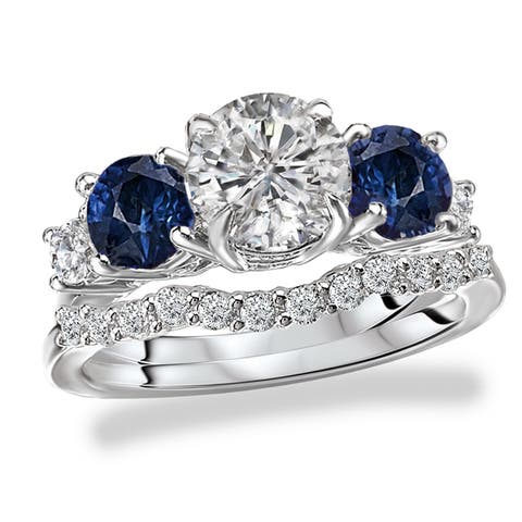 Avanti Rhodium Plated Sterling Silver Cubic Zirconia Round Five Stone Look with Blue Accent Bridal Set