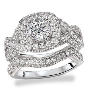 Avanti Rhodium Plated Sterling Silver Cubic Zirconia Round Center And Cushion Halo Vintage Bridal Set