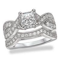 Avanti Rhodium Plated Sterling Silver Cubic Zirconia Princess Cut Center Infinity Shank Vintage Bridal Set
