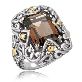 Avanti Sterling Silver and 18K Yellow Gold Emerald Cut Smoky Quartz Swirl Design Ring