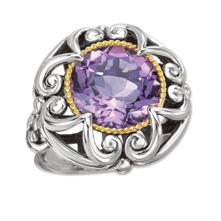 Avanti Sterling Silver and 18K Yellow Gold Round Amethyst Scroll Design Ring