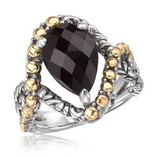 Avanti Sterling Silver and 18K Yellow Gold Faceted Pear Shape Black Onyx Ring