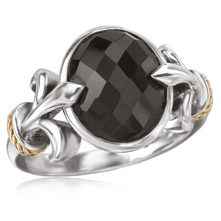 Avanti Sterling Silver and 18K Yellow Gold Oval Black Onyx with Fleur-De-Lis Design Ring