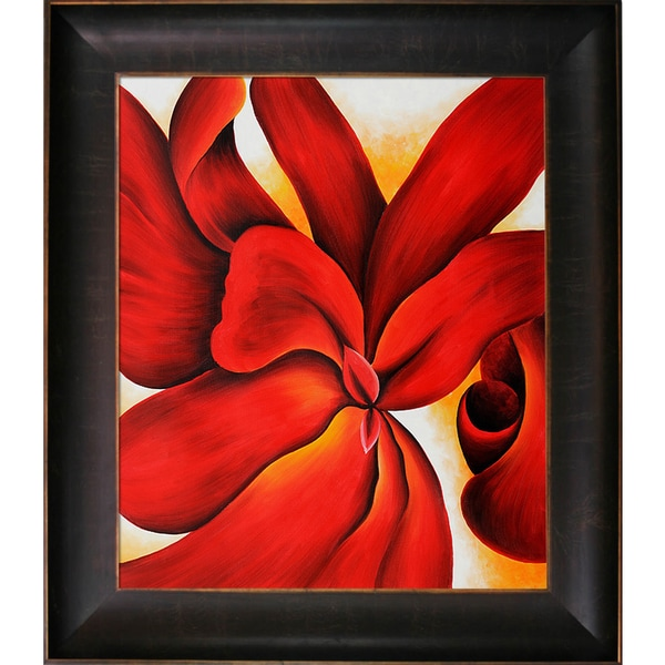 Shop Georgia O'Keeffe 'Red Cannas' Hand Painted Framed Oil ... on