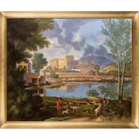 Nicolas Poussin 'Landscape with a Calm, 1650-1651' Hand Painted Framed Oil Reproduction on Canvas