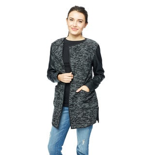 Live A Little Women's Ribbed Spectator Knit All Over Body With PU Sleeve