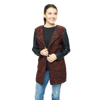 Live A Little Women's Ribbed Spectator Knit All Over Body Coat