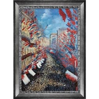 Claude Monet 'La Rue Montorgueil, Paris, Festival of June' Hand Painted Framed Oil Reproduction on Canvas