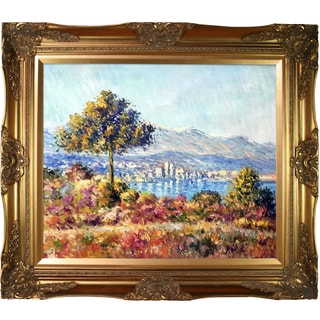 Claude Monet 'Antibes, 1888' Hand Painted Framed Oil Reproduction on Canvas