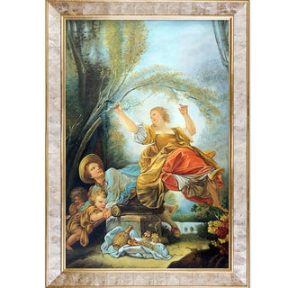 Jean Fragonard 'The See-Saw, 1750-55' Hand Painted Framed Oil Reproduction on Canvas