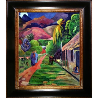 Paul Gauguin 'Road in Tahiti, 1891' Hand Painted Framed Oil Reproduction on Canvas