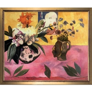 Paul Gauguin 'Still-Life with Japanese Woodcut, 1889' Hand Painted Framed Oil Reproduction on Canvas