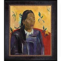 Paul Gauguin 'Vahine No Te Tiare (Woman with a Flower), 1891' Hand Painted Framed Oil Reproduction on Canvas