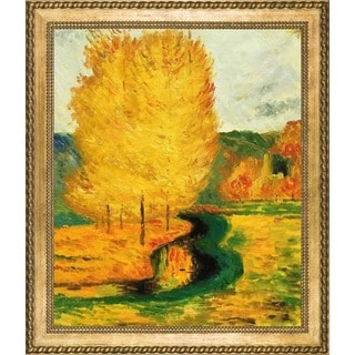 Paul Gauguin 'By the Stream, Autumn, 1885' Hand Painted Framed Oil Reproduction on Canvas