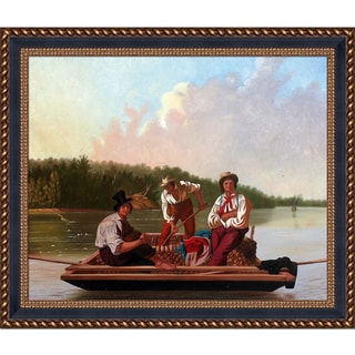 George Caleb Bingham 'Boatmen on the Missouri, 1846' Hand Painted Framed Oil Reproduction on Canvas