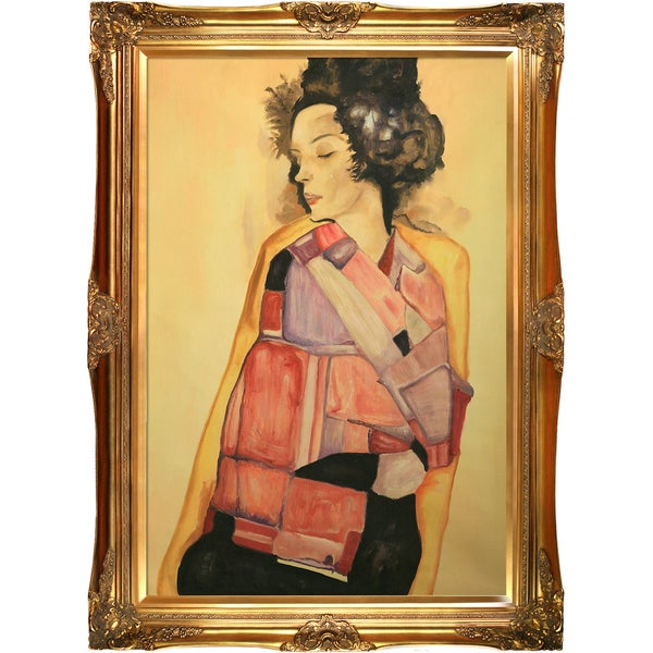 Egon Schiele 'The Daydreamer (Gerti Schiele), 1911' Hand Painted Framed Oil Reproduction on Canvas