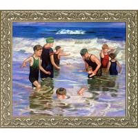 Edward Henry Potthast 'Bathers' Hand Painted Framed Oil Reproduction on Canvas