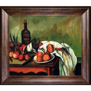 Paul Cezanne 'Still Life with Onions and Bottle' Hand Painted Framed Oil Reproduction on Canvas