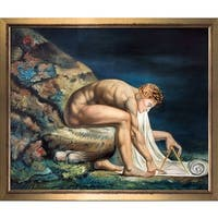 William Blake 'Newton (1795-1805)' Hand Painted Framed Oil Reproduction on Canvas