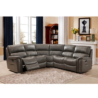 Siri Premium Top Grain Gray Leather Lay Flat Reclining Sectional Sofa