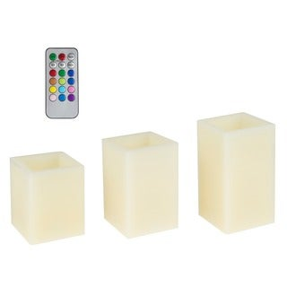 Lavish Home 3-piece Color Changing Square Flameless Candle with Remote