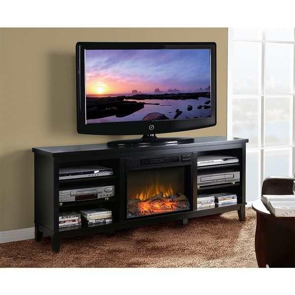 American Furniture Classics Black Entertainment Center And Electric Fireplace Free Shipping
