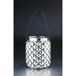 Silver Glass Lantern with Handle