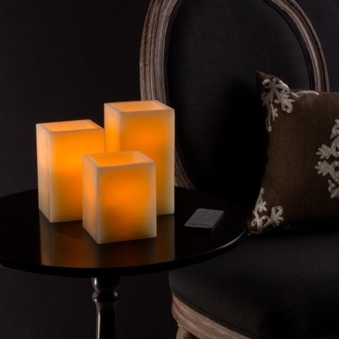 Lavish Home Square Flameless Remote-controlled Vanilla-scented 3-piece Candle Set