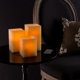 Lavish Home Square Flameless Candle 3-piece Set with Remote