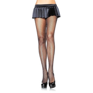 Leg Avenue Women's Nylon and Spandex Halloween Special Fishnet Pantyhose with Glitter Spandex
