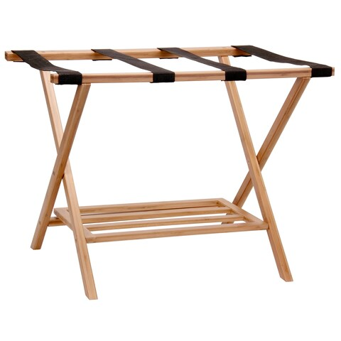 Home Essentials Bamboo Luggage Rack with Tray