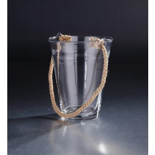 Clear Glass Hurricane with Jute Handle