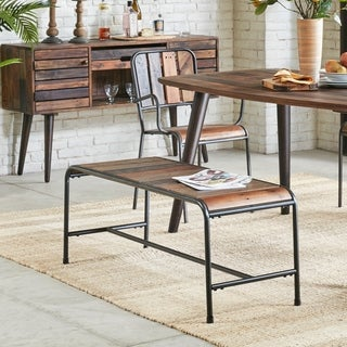 INK+IVY Renu Light Brown Multi/ Gunmetal Dining Bench