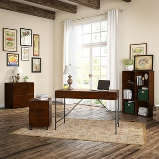 kathy ireland Office Ironworks Coastal Cherry Writing Desk, Mobile Pedestal, Bookcase, and Lateral File
