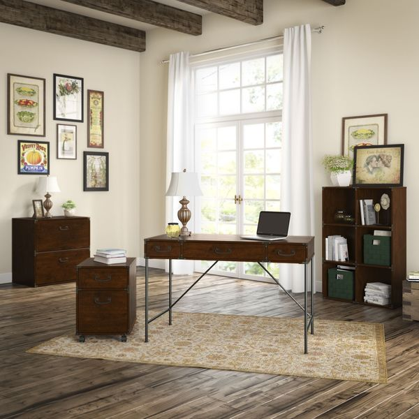 Ordinaire Kathy Ireland Office Ironworks Writing Desk, Mobile Pedestal, Bookcase, And  Lateral File Cabinet