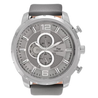 Territory Men's Stainless Steel Round Chronograph Dial Leather Strap Watch