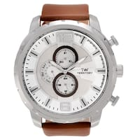 Territory Men's Stainless Steel Round Chronograph Dial Leather Strap Watch - Brown
