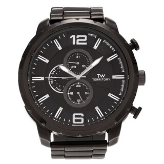 Territory Men's Black Stainless Steel Round Chronograph Dial Link Bracelet Watch