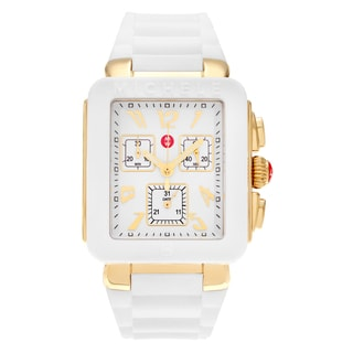 Michele Women's MWW06L000013 'Park Jelly Bean' Goldtone White Chronograph Dial Silicone Strap Watch