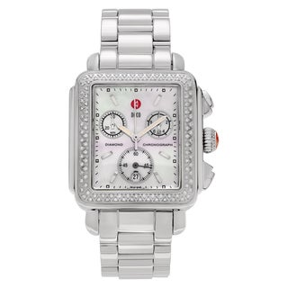 Michele Women's MWW06A000448 'Deco' Stainless Steel 1/2 CT TDW Diamond Mother of Pearl Dial Link Bracelet Watch